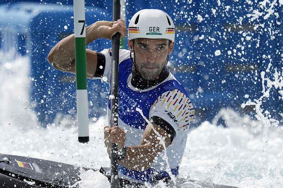 カヌー・スラロームで銅メダルを獲得したハネス・アイグナー【写真:AP】