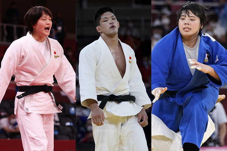 個人戦では金メダルを獲得した、柔道日本代表の(左から)新井千鶴、大野将平、素根輝【写真:AP,Getty Images】