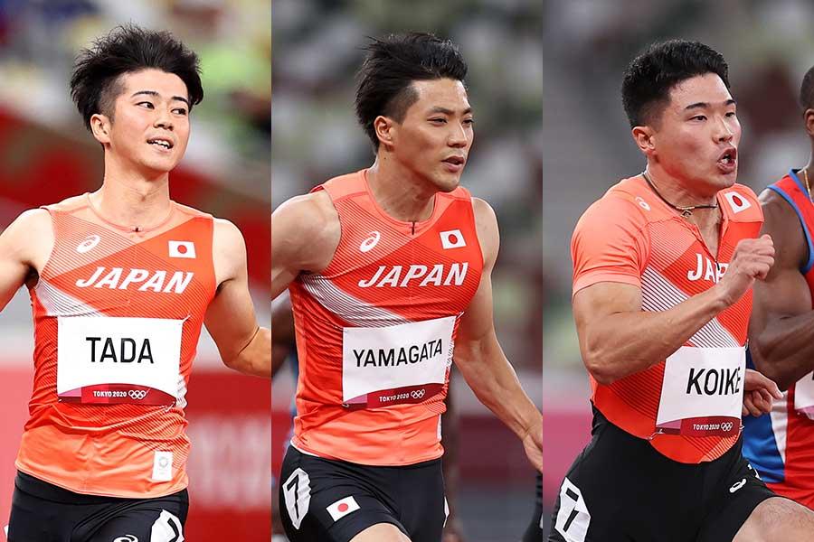 (左から)多田修平、山縣亮太、小池祐貴【写真:Getty Images】