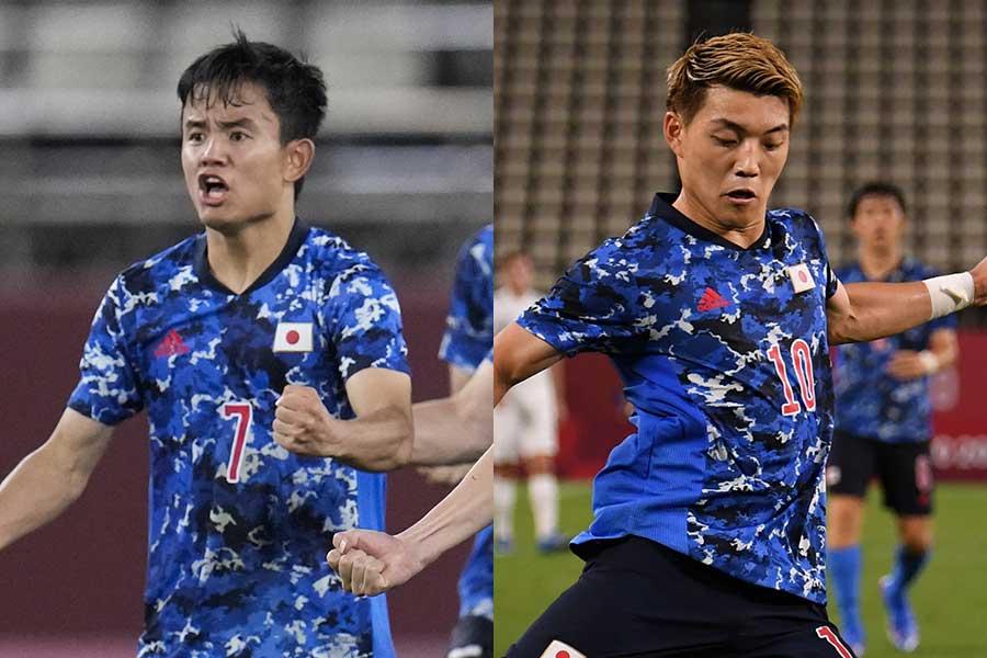 サッカー日本代表の久保建英(左)と堂安律【写真:AP,Getty Images】