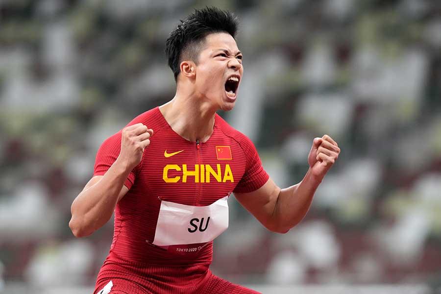 9秒83のアジア新記録をたたき出し、声をあげて喜ぶ蘇炳添【写真:AP】