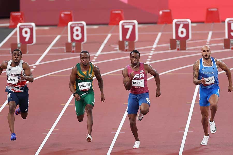 東京五輪男子100メートル準決勝第3組は8レーン(左)からパー、グー、グー、グーだった(4人目は金メダルのヤコブス)【Getty Images】【写真:Getty Images】
