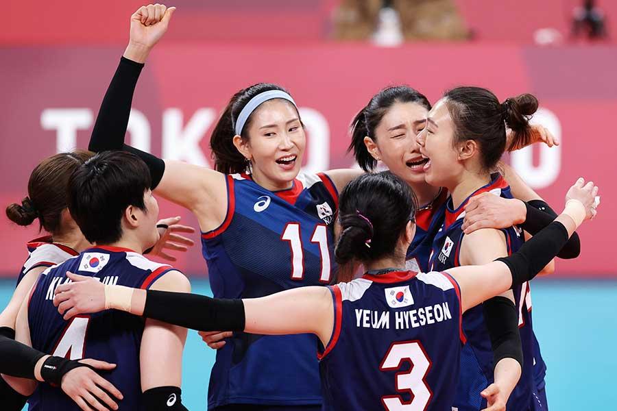 メイクが印象的だったバレーボール女子韓国代表チーム【写真:Getty Images】