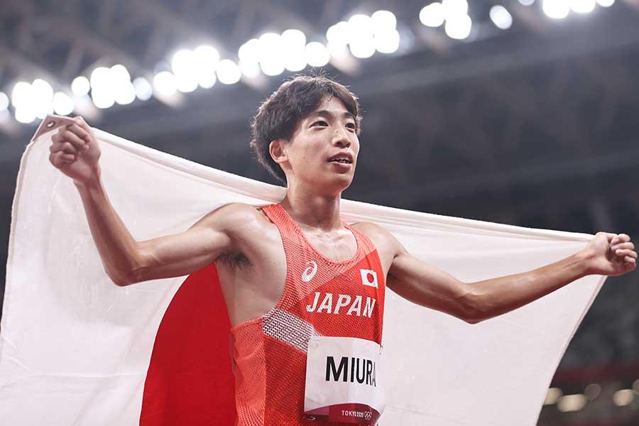 男子3000m障害決勝で7位入賞を果たした三浦龍司【写真:Getty Images】