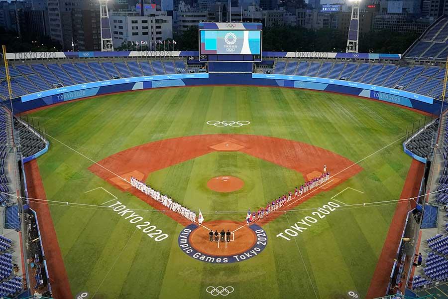 横浜スタジアムで撮られた夜景に注目が集まった【写真:AP】