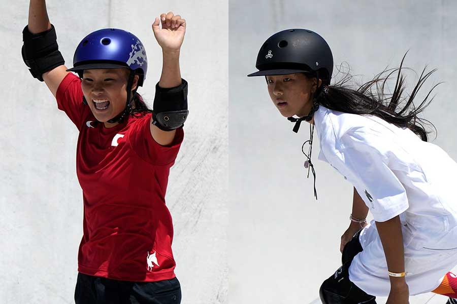 スケートボード・女子パークで金メダルを獲得した四十住さくらと銀メダルを獲得した開心那【写真:AP】