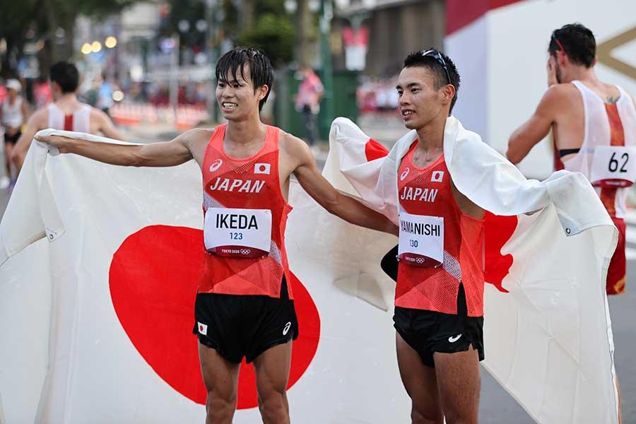 陸上・男子20キロ競歩で池田向希(左)が銀メダル、山西利和が銅メダルを獲得した【写真:Getty Images】