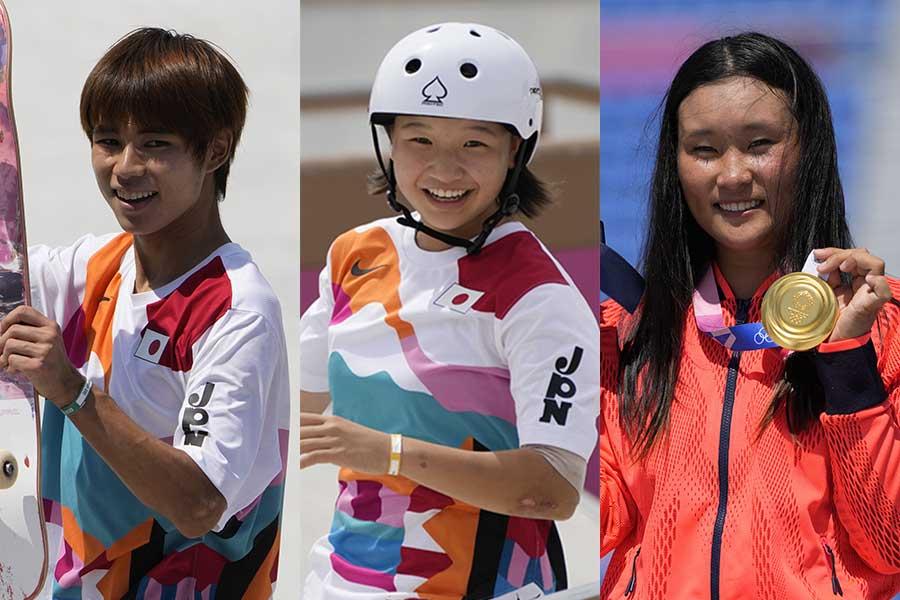 スケートボードで金メダルを獲得した堀米雄斗、西矢椛、四十住さくら(左から)【写真:AP】