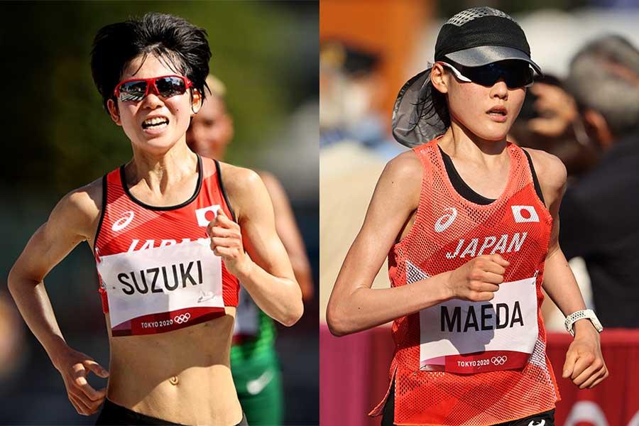 女子マラソンで19位だった鈴木亜由子と33位だった前田穂南【写真:Getty Images】
