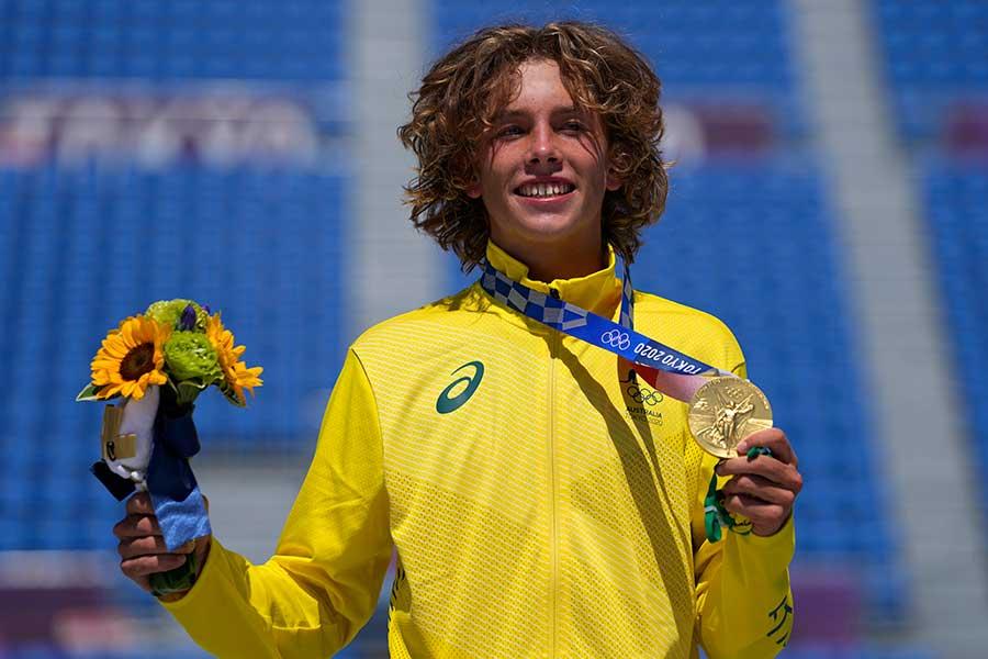 スケートボード男子パークで金メダルを獲得したキーガン・パーマー【写真:AP】