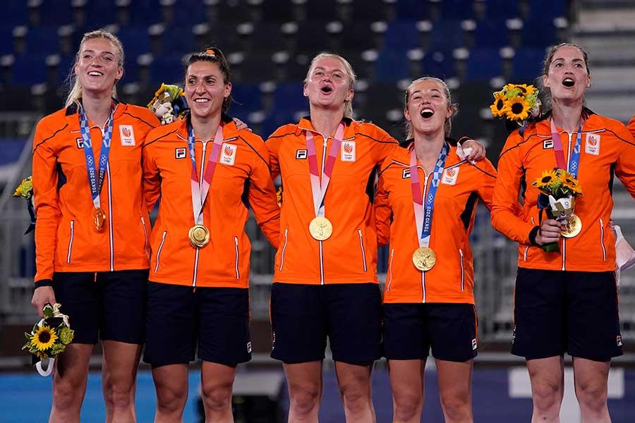 ホッケー女子で金メダルを獲得したオランダ代表チーム【写真:AP】