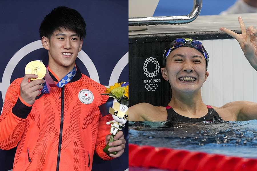 2つの金メダルを獲得した体操の橋本大輝(左)と競泳の大橋悠依【写真:AP】