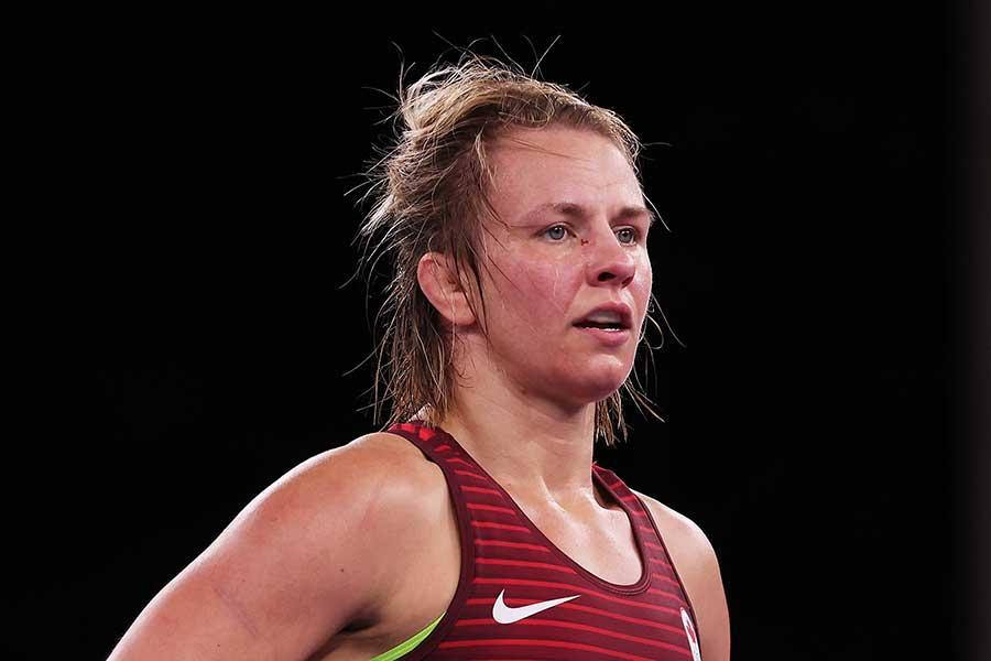 レスリング女子76キロ級に出場したエリカ・ウィーブ【写真:Getty Images】