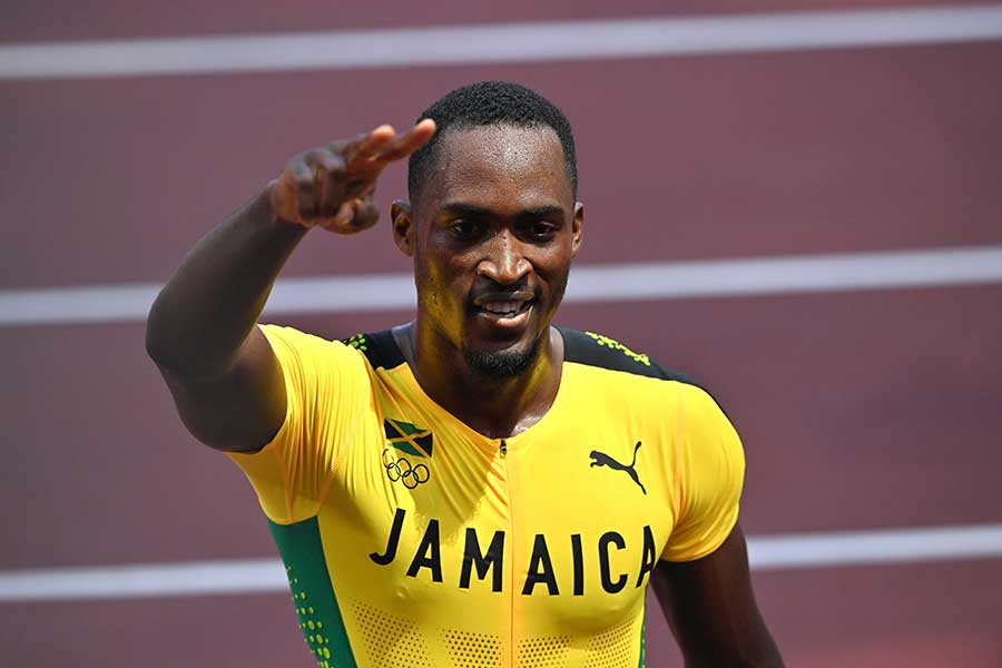 110メートル障害で金メダルを獲得したハンスル・パーチメント【写真:Getty Images】