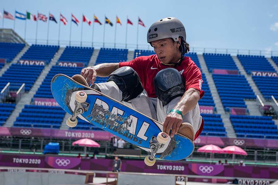 東京五輪のスケートボードに出場していた平野歩夢【写真:AP】