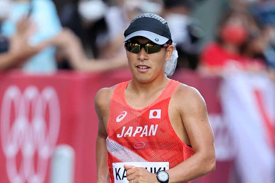 陸上・男子50キロ競歩に出場した勝木隼人【写真:Getty Images】