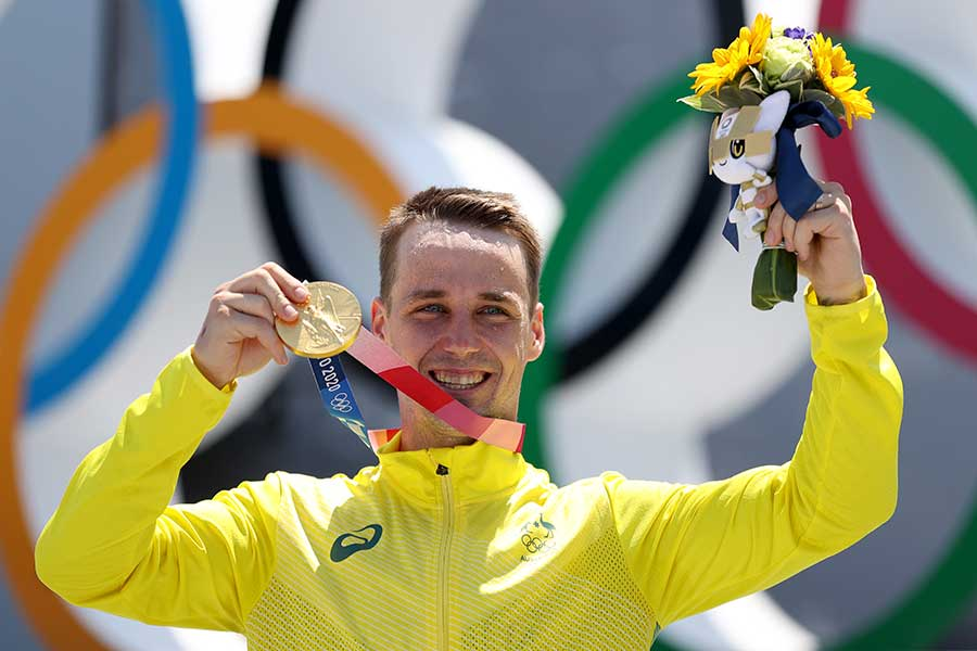 自転車・BMX男子フリースタイル・パークで金メダルを獲得したローガン・マーティン【写真:Getty Images】