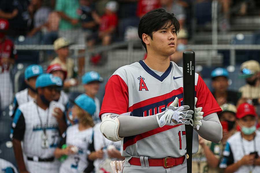 インディアンス戦に「1番・指名打者」で先発出場した大谷翔平【写真:Getty Images】