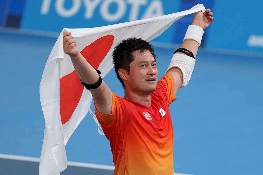 東京パラリンピック・車いすテニスで金メダルを獲得した国枝慎吾【写真:AP】