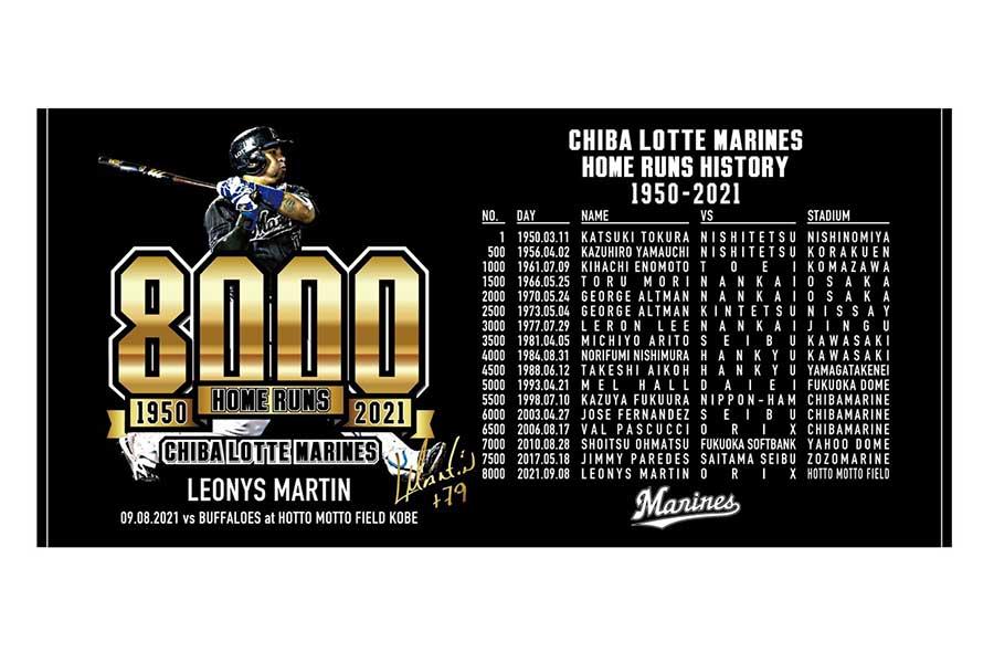 ロッテの球団通算8000本塁打記念バスタオル【写真:球団提供】