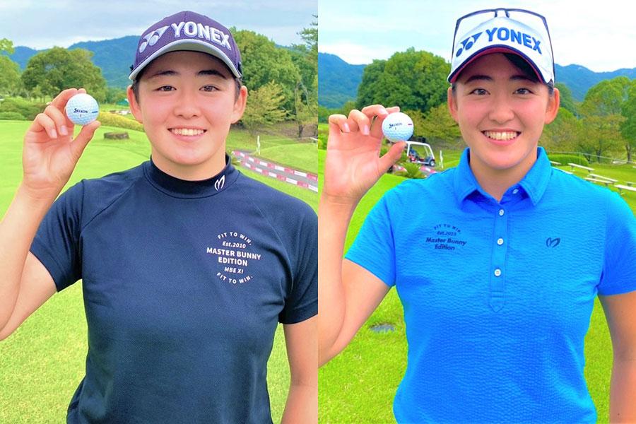 住友工業とのボール契約を発表した姉の岩井明愛(左)と妹の岩井千怜