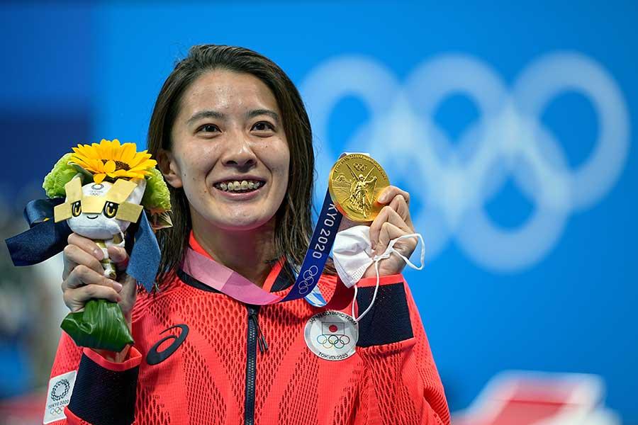東京五輪の競泳女子個人メドレーで2冠を達成した大橋悠依【写真:Getty Images】