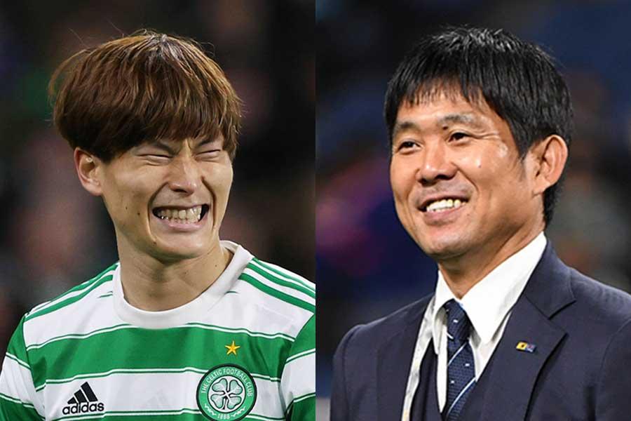 サッカー日本代表の古橋亨梧(左)と森保一監督【写真:Getty Images】
